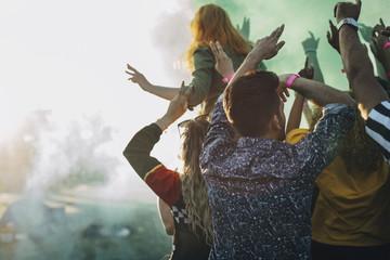 Rear view of friends enjoying holi in music festival