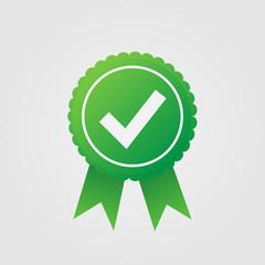 Checkmark. Green approved star sticker on white background. Vector illustration.
