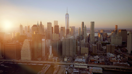 New York Cityscape View of Modern Urban Metropolis Skyscrapers Corporate Enterprise District Background