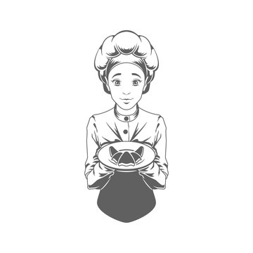 Chef woman giving croissant logo vector Illustration silhouette isolated on white background.