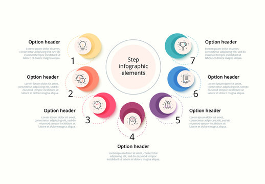 7 Step Infographic with Icons and Circles