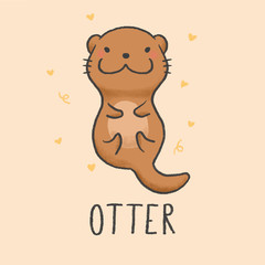 Cute Otter cartoon hand drawn style