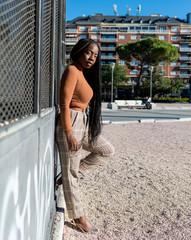 Black Fashionable Woman posing in Madrid