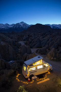 Twilight image of  camper van in the mountains