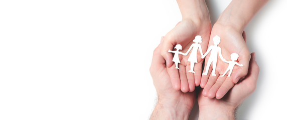 Hands Holding Paper Family On Isolated White Background - Family Protection And Care Concept