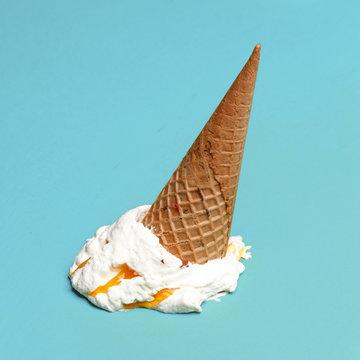 Vanilla ice cream cone drop upside down