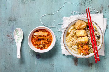 Asian noodle soup with cabbage, tofu, shirataki noodles and homemade kimchi