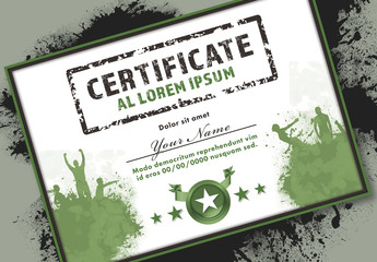 Achievement Certificate Layout with Athletic Muddy Elements