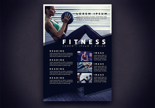 Fitness Flyer with Geometric Elements Layout