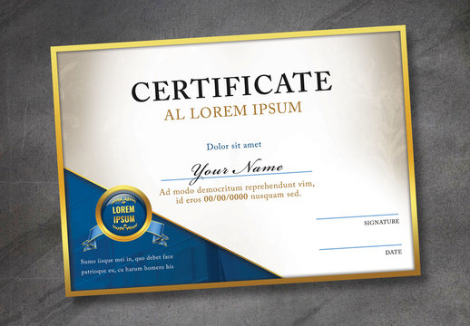 Certificate of Excellence Layout