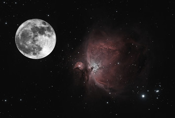Composition with full Moon phase and the Orion nebula, taken all two parts by telescope, with many stars as background.