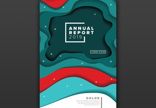 Report Cover with Teal and Red Abstract Elements