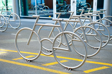 Bike Racks at Barcode Project in Oslo, Norway