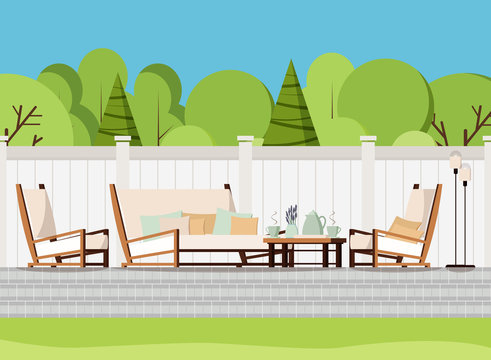 Relaxing porch zone: private backyard patio retreat with outdoor country soft sofa, table with cups of tea and flowers, armchairs and lamps. Flat cartoon style vector background scene illustration.