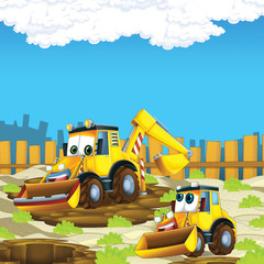Recess Fitting Cars cartoon scene with diggers on construction site father and son - illustration for the children