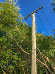 Electrical power wooden post with blue sky background