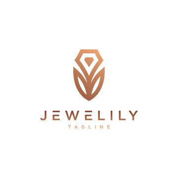 Jewel & Lily Logo - Vector logo template