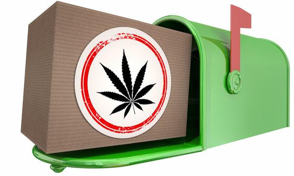 Marijuana Weed Pot Cannabis Mailbox Package Order Shipment 3d Illustration