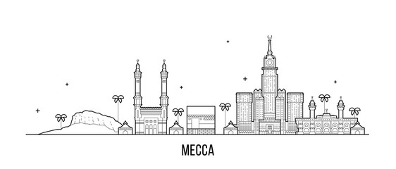 Wall Mural - Mecca Makkah skyline Saudi Arabia big city vector