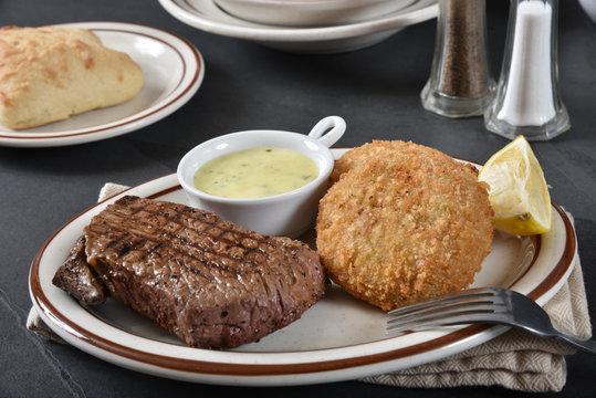 Steak and crab cakes