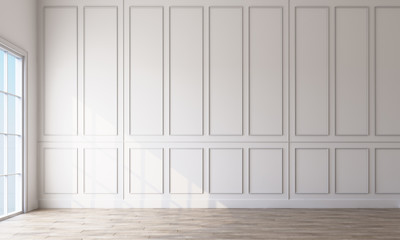 Modern classic white empty interior with wall panels and wooden floor. 3d rendering Wall mural