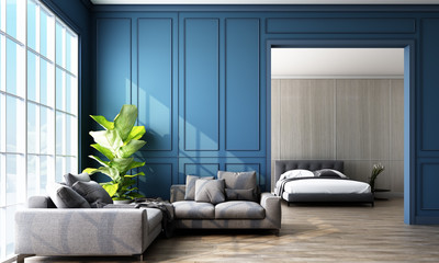 Modern classic Blue living and bedroom space with wall panels decoratel and wooden floor. 3d rendering