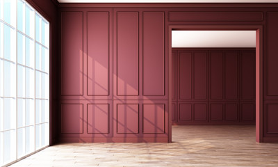 Modern classic burgundy empty interior space with wall panels decorate and wooden floor. 3d rendering