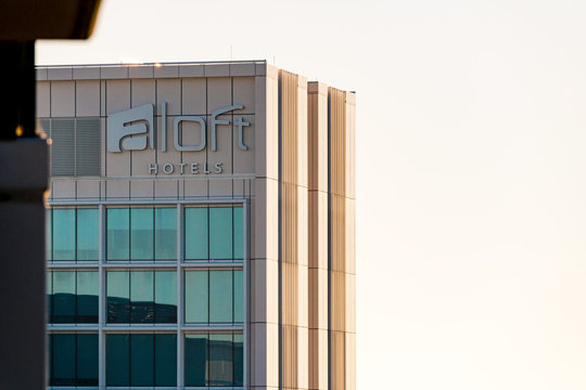 Aloft Hotels building sign and logo. Aloft Hotels (subsidiary of Marriot) offer stylish, boutique hotel rooms across the world. Perth, Western Australia, Australia. Photographed: May 3, 2019.