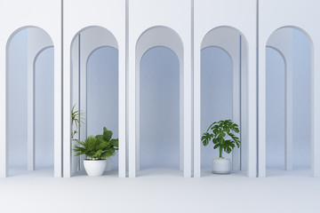 Minimalistic,white arch with many plant decorate. 3d rendering Wall mural