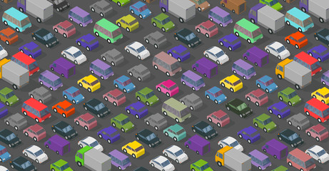 Isometric traffic jam a lot of multi-colored cars transport highway background pattern. Top view of the road and cars.