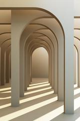 Obraz Minimalistic, grey arch hallway architectural corridor with empty wall. 3d render, minimal. - fototapety do salonu