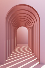 Minimalistic, pinkpastel arch hallway architectural corridor with empty wall. 3d render, minimal.