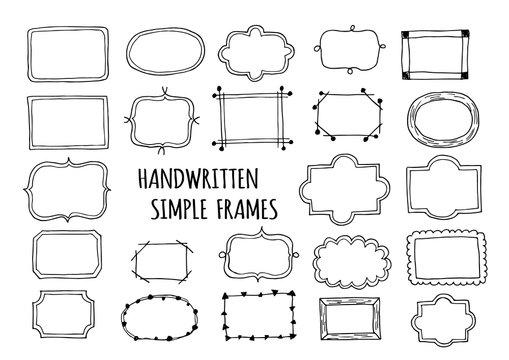 シンプルな手描きフレームのイラストセット(黒ライン)