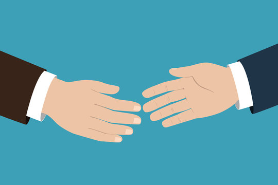 Two businessmen pulling their hands to handshake. Vector illustration.