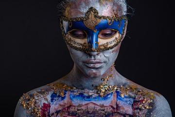 Creative podium makeup in Venetian lady style