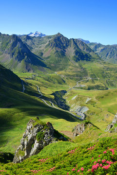 View of the mountain road. Col du Tourmalet in Pyrenees mountains. France