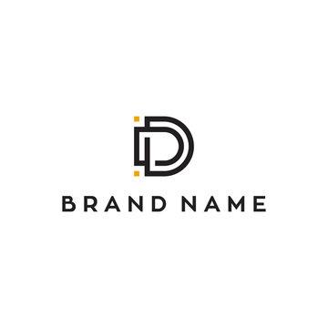 D initial letter vector logo design
