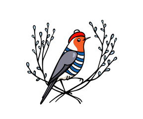 Hand drawn robin emblem