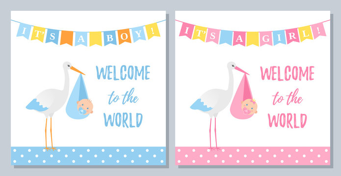 Baby Shower invitation. Vector. Welcome template invite card. Baby boy girl banner. Blue, pink design. Birth party background. Set happy greeting posters with newborn kid, stork. Cartoon illustration.