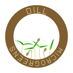 Microgreens Dill. Seed packaging design, round element in the center