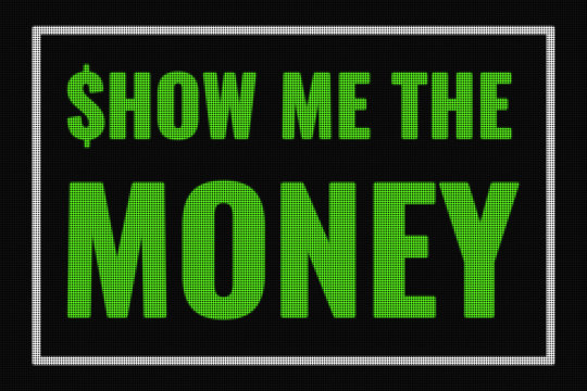 Show Me The Money text on dark screen