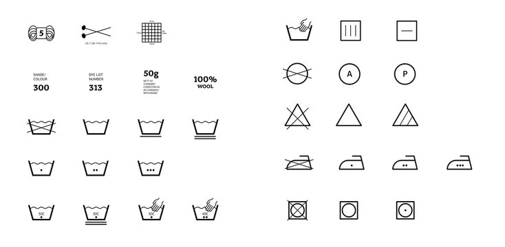 Yarn label laundering information. Vector icons fabric feature, garments property symbols. Wind proof, wool, waterproof, uv protection. Wear labels, textile industry pictogram for clothes
