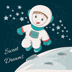 Cute astronaut sweet dreams