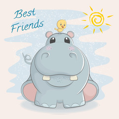Cute hippo with little bird