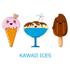Kawaii ices. Vector illustration