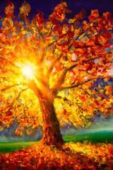 Original oil painting on canvas. Autumn tree. Modern impressionism.