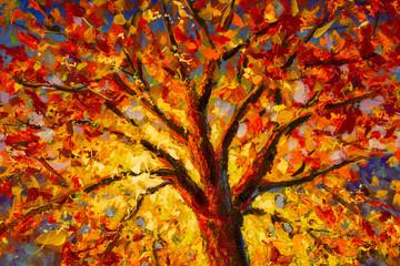 Oil painting impressionism autumn tree in sun landscape - palette knife Modern Art