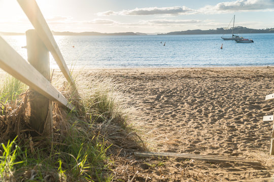 Pathway to Tapeka Point Beach Bathed in Autumn Afternoon Sunlight - Horizontal, Bay of Islands, New Zealand