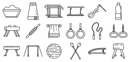 Modern gymnastics equipment icons set. Outline set of modern gymnastics equipment vector icons for web design isolated on white background