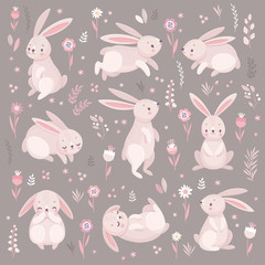 Wall Mural - Cute rabbits sleeping, runnung, sitting. Lovely
